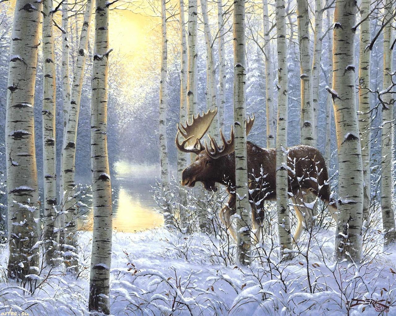 Вышивка охота на лося